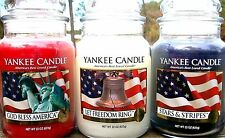 SET OF 3 Yankee Candle 22 oz~GOD BLESS AMERICA~LET FREEDOM RING~STARS & STRIPES