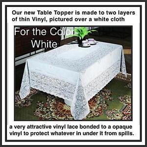 "Vinyl Lace WHITE 60"" x 104""  Soft, drapes nicely EZ-Care Machine wash & dry #046"