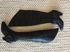 Aldo Women's Black Leather Over the Knee Med Heel Zip Boots Size 38 EUR 7.5 US
