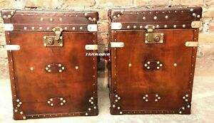 Pair of Finest English Leather Antique Inspired Side Table Trunks trunk vintage
