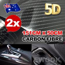 2X 5D 1.51Mx50cm Gloss Black Carbon Fibre Fiber Vinyl Car Wrap Air Release Film