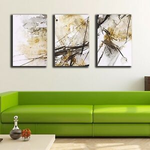 3 Panels 30×50×3cm Abstract Yellow Canvas Prints Framed Wall Art Decor Painting