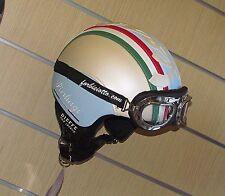 Casco vintage tricolore 150° in pelle bandiera Italiana Italia Vespa Moto Guzzi