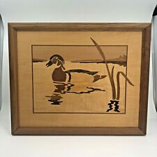 """FRAMED JEFF NELSON HUDSON RIVER INLAY WOOD ART OF DUCK, SIGNED 15.5"""" X 12.5"""""""