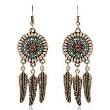 BOHO FEATHER DANGLE DROP EARRINGS Bohemian Gypsy Ethnic Tribal Jewellery White