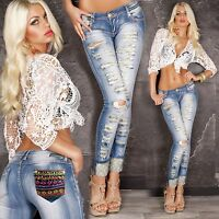 Top Women Clubbing Jeans Ladies Trouser Sexy Party Blue Slim Pant Size 6 8 10 12