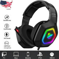 ONIKUMA K10 Stereo Bass Surround RGB Gaming Headset for PS4 Xbox One PC +Mic US