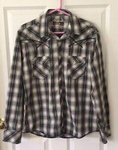 Rock 47 Wrangler Western Snap-Up Shirt Sz L