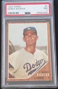 1962 TOPPS #5 SANDY KOUFAX, PSA 7 NM, HOF, LOS ANGELES DODGERS, IMMACULATE, L@@K