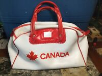 "Vintage Vinyl Handbag White With Red Handles Canada Graphic 16"" Length"