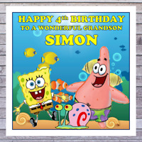 KIDS SPONGEBOB BIRTHDAY CARDS - personalised with any AGE RELATIONSHIP & NAME