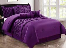 7 Piece Faux Silk Purple Black Flocked Comforter Set Cal King Size NEW