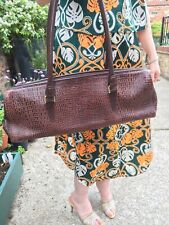 Vintage 1980s Frank Usher Leather Brown Faux Snakeskin Wide Bag Hippie Boho
