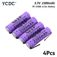 14500 BATTERY RECHARGEABLE 3.7V 2300MAH WITH NICKEL TABS FOR FLASHLIGHT 4PCS 98