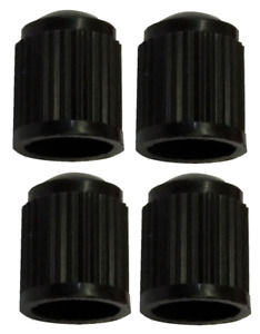 Black Round High Quality Plastic Dust Caps Pack of 4 Caps