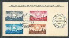 1956 ITALIA FDC DECENNALE REPUBBLICA - FRANCOBOLLI APPLICATI SU CARTONCINO