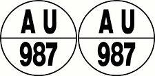 Round Boat Rego 150mm Registration Sticker Decal Set of 2, 465mm diameter each