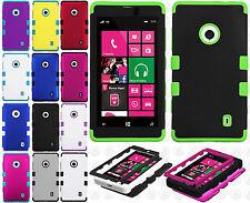 For Nokia Lumia 521 Rubber IMPACT TUFF HYBRID Case Skin Phone Cover Accessory