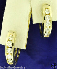 Channel Set 0.74 ct 14k Solid Yellow Gold Diamond Earring Huggie Hoop 4.20 Grams