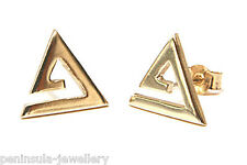 9ct Gold Open Triangle Studs Earrings Made in UK Gift Boxed