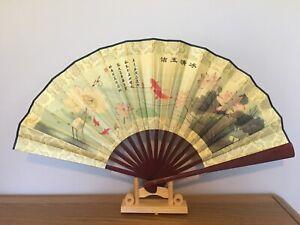 1x Chinese Silk Folding Hand Held bamboo Fan Party Dance Large (bingqing)