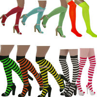 NEON OVER THE KNEE SOCKS  fancy dress TUTU ALTERNATIVE GOTH STRIPED HALLOWEEN