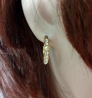"""Napier Faux Pearl Rhinestone Gold Tone Hoop Pierced Earrings 5/8"""""""