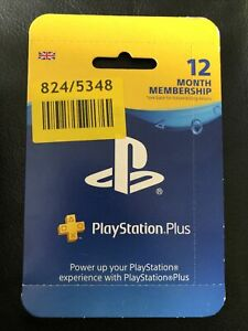 PlayStation Plus 12 Month Membership PSN Code Scratch Card Subscription PS5 PS4
