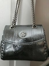 ROBERTO CAVALLI AYERS LAMINATE SHOULDER BAG - SILVER - NEW WITH TAGS