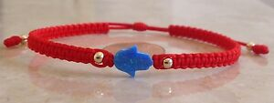 Opal Hamsa Hand Red Macrame Bracelet - Hand of Fatima Free Shipping