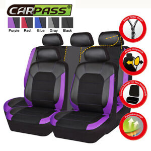 Universal Car Seat Covers Black Purple Leather Mesh Front Rear Breathable 11 pcs