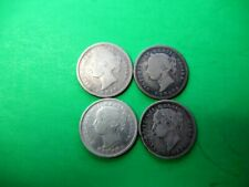 Canada 4 X 10 cents 1880, 1881, 1888 1890. Good to Fine. 92,5% silver