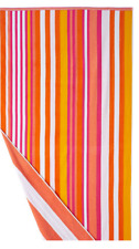 "The Big One Reversible Beach Towel Pink & Orange Striped  36"" x 74""  Over 6 feet"