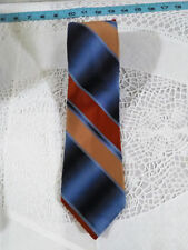 MARC de PARIS MENS NECK TIE BROWN BLUE and TAN STRIPE Vintage