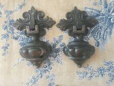 Vintage Lane Cedar Hope Chest Handles Pulls Deco Antique Patina pair