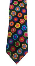 New 100% Jacquard Woven Silk Necktie Thick Heavy Bright Multicolor Lawrence Ivey