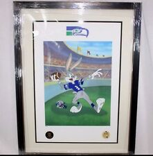 Looney Tunes SEAHAWKS Warner Bros Bugs Bunny Hail Mary FOOTBALL Litho FRAMED