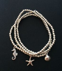 3 Sterling Silver Beaded Stretch Bracelets. Triple Beaded Stacking Bracelets