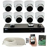 8 Channel NVR 4K 8MP 3840x2160p Weatherproof IP Dome PoE Security Camera System
