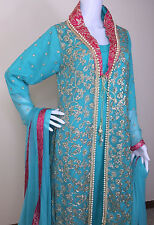 Pakistani Indian Designer Salwar Kameez Party Wear Embroidery Wedding Bridal M,L