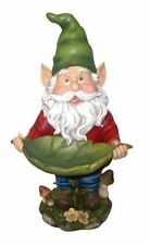 Gnome Holding Leaf Bird Feeder