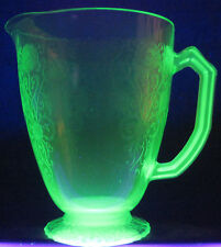 RARE 32oz Cream GREEN Glass Water Pitcher VASELINE Scroll FLORAL Design PERFECT