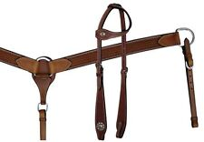 SHOWMAN WESTERN HORSE 1 ONE EAR BRIDLE HEADSTALL W/ BREAST COLLAR PLATE MEDIUM