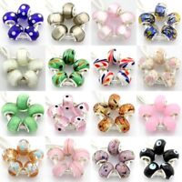 5pcs Murano Lampwork Glass Beads Silver For European Charm Bracelet G6