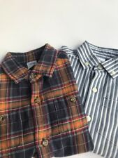 Lot Of 2-Gymboree boys plaid flannel shirt size 4 And Cotton striped White/ Grey