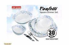 30pcs Dinner set- Square Blue Confetti  Heat Resistant
