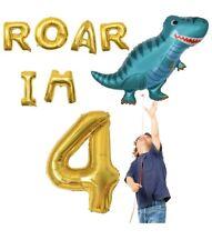 Omg Party Factory - Dinosaur Balloons Mylar Foil Birthday Party (Roar Im Four)