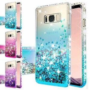 For Samsung Galaxy S7 Edge Hybrid Luxury Liquid Glitter Bling Phone Case Cover