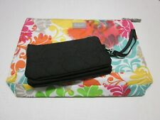 2 lot 31 Thirty-one VARY YOU Wristlet Black Quilted Dots+Thermal Foil Lined Tote