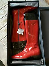 NEW Burberry Red w/ Black Trim Patent Leather Riding Boots Sz 35.5 / 5.5